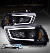 11-14 DODGE CHARGER (HID MODEL) LED PROJECTOR HEADLIGHTS LAMPS BLACK W/BLUE DRL