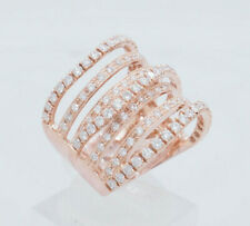 18K Rose Gold 2.00ctw G-H/VS-SI Round Natural Diamond Wavy Stackable Band Ring 7