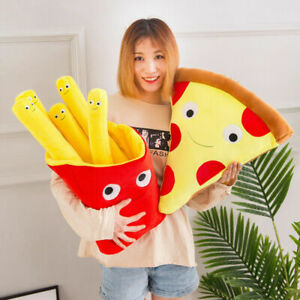 Food Plush Toys Cute French Fries Cuddly Pizza Pillow Soft Stuffed Cushion Gift