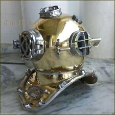 "Antique Brass Scuba Deep Sea Diving Divers Helmet Mark V U.S Navy Vintage 18"""
