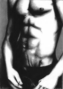 original drawing А3 15MD art by samovar Charcoal male nude Signed 2020