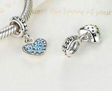 BELLISSIMO ARGENTO 925 Sterling Silver Blue Cuore Cristallo Ciondoli Charm