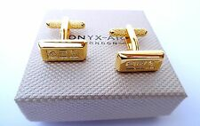 "MINI GOLD BAR STYLE with Ingots ""BANKERS"" METAL cuff links in a GIFT BOX-NEW"