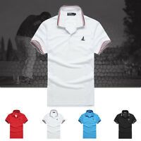 New Mens Slim Fit Short Sleeve Casual Golf Polo T-shirts Sport Y-Neck Tee Tops