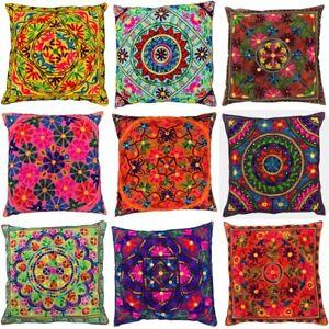 Indian Suzani Mandala Cushion Covers Cotton Sequin Embroidered Boho 60 x 60 cms