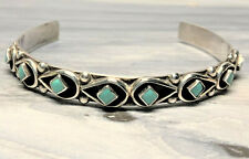 Vintage Sterling Zuni Turquoise Cuff Bracelet signed Cachini (Small Wrist)