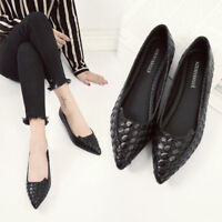 Women Fashion Pointed Toe Pumps Flats Loafers Casual PU leather Shoes Slip On BN