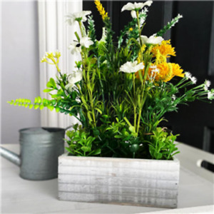 Artifical Faux Wild Flowers Spring Arrangement In A Rustic Window Box Crate 39cm