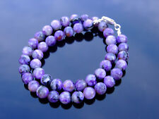 Charoite Natural Gemstone Necklace 8mm Beaded Silver 16-30inch Healing Stone