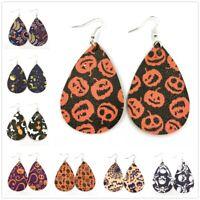 Chic Halloween Skull Pumpkin Teardrop PU Leather Bohemia Dangle Drop Earrings