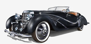 Vintage car Collection Old prestige  painting Wall art Canvas Home Decor Print