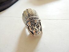 """Ring Size 10.5 By G & S Vintage 1985 Classic Silver Plated """"Indian Chief"""" Biker"""