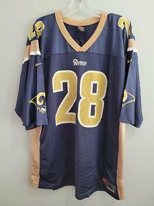 Vintage 90s Nike NFL LA St Louis Rams Marshall Faulk 28 Football Jersey Mens XL