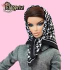 ELENPRIV Goose foot silk printed headscarf for Fashion Royalty FR2 similar dolls
