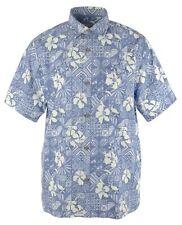 Tommy Bahama Silk Blend Camp Shirt Mens XLT Tahitian Tiles Monaco Blue