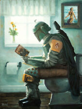 DROPPING A BOUNTY by Bucket Boba Fett Toilet Parody 16x12 Paper Bathroom Art