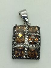 Signed R.P. 925 Sterling Silver Pendant With Topaz Stones