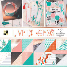 "American Crafts Card Stock 12"" X12"" Lively Geo Premium Printed Cardstock Stack"