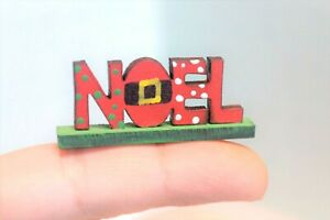 Miniature Dollhouse Christmas Noel Sign Handcrafted  Holiday 1:12 Scale