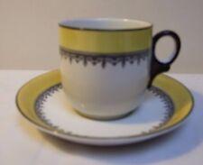 WEDGWOOD BONE CHINA DUO TEA CUP & SAUCER BLACK & YELLOW