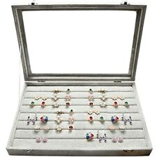 Wuligirl Clear Lid 7 Slot Ring Organizer Box Jewelry Case For Drawer Rings Tray