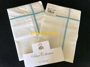 Yves Delorme Athena Lagon 2 White Euro Shams Cases Turquoise Blue Stripes NEW PR