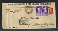 1938 Trieste Italy Registered Cover Local Use Child care Letter Invoice