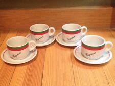 Set 4 Porcelana Veracruz Espresso Cups Saucers White W/ Green Red Stripes 2 Oz.