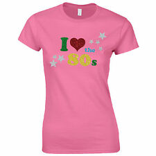 I Love The 80s Ladies Fitted T-Shirt - Women Fancy Dress Glitter Print Party Top