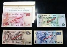{BJSTAMPS} Ghana Specimen set of 4 banknotes (1978) Pick CS 1  Crisp UNC w/COA