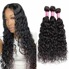 Unprocessed Water Wave Human Hair Bundles Virgin Curly 3 Bundles Hair Weaves 1B