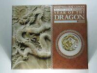 1 oz Silver Lunar Perth Mint Gilded 2012 Year of the Dragon, box, outer box, COA