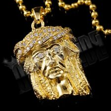 18K Yellow Gold Plated JESUS PIECE Pendant Simulated CZ Rhodium Necklace 7