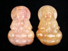 Pair Nephrite Jade Carved Pendant Kwan-Yin Mercy Buddha Holds Water Bottle #RS