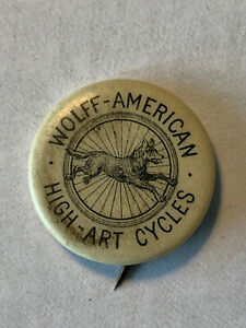 1894 WOLFF AMERICAN Cycles Pinback - Made by WHITEHEAD & HOAG CO. Newark NJ