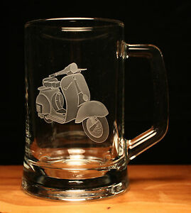 Vespa scooter motorcycle bike engraved glass pint tankard gift present