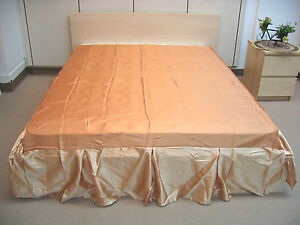 DaDa Bedding Golden Champagne Copper Soft Satin Pleated Bed Skirt, Twin Size