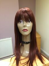 "Real Ladys 100% Human Hair Wigs~ Ladies Wig Dark  Auburn  Colour ""33  Long"
