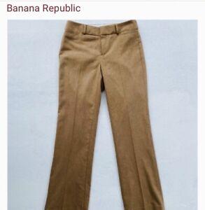 Banana Republic Martin Wide-leg Camel Khaki Tan Lined Trouser Size 6 Pant