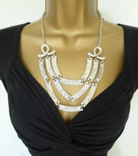 Layered Long Necklace Beaten Silver Tone Stunning for the summer!