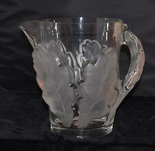 "RARE Lalique ""CHENE"" Large Pitcher - Frosted Oak Leaf Pattern-#13206- 8.5""H"