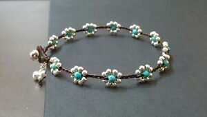 Turquoise Silver  Flower Anklet