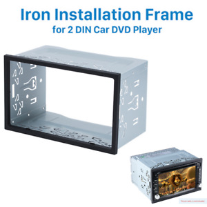 Silver Double 2-Din Car DVD Stereo Radio Dash Kit Installation Mounting Trim
