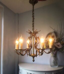 💖Fabulous French vintage 6 light Gilt Bronze & Brass bird cage chandelier 💖
