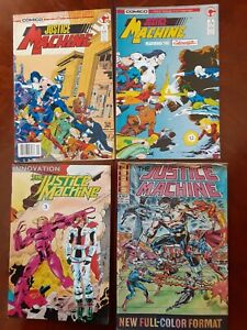 JUSTICE MACHINE COMIC BOOK LOT of 4, Numbers 1, 2, 3 and 4 (COMICO & INOVATION)