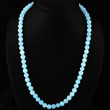 ABSOLUTELY RARE 250.00 CTS NATURAL UNTREATED RICH BLUE ONYX ROUND BEADS NECKLACE