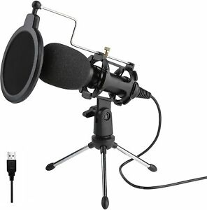 USB MICROPHONE CONDENSER & MIC STAND TRIPOD FOR PODCASTS, GAMING, YOUTUBE ETC