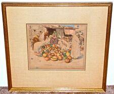 T.F. Simon Hand Colored Aquatint Orientalist Scene