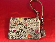 Coach Poppy Graffiti Hearts Gray Platinum Wristlet/Clutch/Purse/Wallet **RARE**