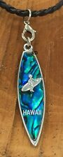 Surfboard with Surfer Hawaii Paua Shell Inlaid  Black Leather braided Necklace